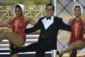 Host Stephen Colbert dances onstage during the 69th Emmy Awards at the Microsoft Theatre in Los Angeles on Sunday. Photo: AFP