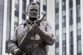 A new monument to Russian firearm designer Mikhail Kalashnikov. Photo: AP