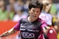 Luxembourg's Ni Xialian in action at the 2014 World Team Table Tennis Championships when she was a sprightly 51. Photo: AFP
