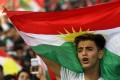 Iraqi Kurds fly Kurdish flags at a mass gathering to celebrate the independence referendum in Arbil, the capital of the autonomous Kurdish region of northern Iraq. The movement for the vote, which foreign powers want postponed, is being lead by Iraqi Kurdish head Massoud Barzani. Photo: AFP