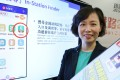 MTR Corporation commercial director Jeny Yeung Mei-chun demonstrates the company's app's new functions at a launch in August. The functions were rolled out later. Photo: Sam Tsang