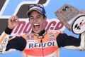 Repsol Honda Team's Spanish rider Marc Marquez celebrates on the podium. Photo: AFP