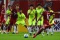 Shanghai SIPG's Hulk takes a free kick during the AFC Champions League semi-final against Urawa Red Diamonds. Photo: AFP