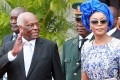 The wife of newly sworn-in president of Angola Ana Dias de Lourenco (right) walks with outgoing leader Jose Eduardo dos Santos at the inauguration ceremony for Joao Lourenco in Luanda on Tuesday. Photo: AFP