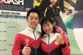 Leo Au and Annie Au gives the Hong Kong Squash Open the thumbs up during Wednesday's draw. Photo: Andrew McNicol