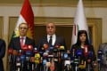 Head of Kurdistan High Electoral Commission Handreen Muhammad Salih announces the results of the independence referendum in Arbil, Kurdistan. The vote, which had a 72 per cent turn out rate, has been condemned by neighbouring nations and prompted airlines to halt flights to the region. Photo: EPA