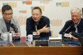 (From left) Occupy Central co-founders Chan Kin-man, Benny Tai Yiu-ting and Chu Yiu-ming take to the airwaves to call on Hongkongers to continue fight for democracy. Photo: Edmond So