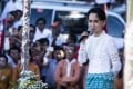 Aung San Suu Kyi delivers a speech in Taunggok, Rakhine state, in October 2015, ahead of that year's general election. Picture: Ann Wang