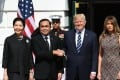 US President Donald Trump (second right) and First Lady Melania Trump greet Thai Prime Minister Prayuth Chan-ocha and wife Naraporn Chan-ocha at the White House on Monday. Photo: Xinhua