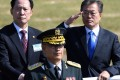 South Korean President Moon Jae-in (right) and Defence Minister Song Young-moo review the troops during a commemoration ceremony marking South Korea's Armed Forces Day, which falls on October 1. Photo: Reuters