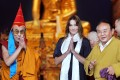 Sogyal Rinpoche (right), the Dalai Lama (left) and France's then first lady Carla Bruni Sarkozy attend the inauguration of Lerab Ling, in southern France, on August 22, 2008. Picture: AFP