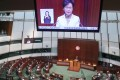 Hong Kong Chief Executive Carrie Lam Cheng Yuet-ngor delivers her policy address in Legco. Photo: K. Y. Cheng