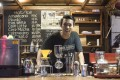 Barista Benjamin Sodip at Kopi Mank, a cafe on one of south Jakarta's most notoriously congested streets. Photo: Antony Dickson