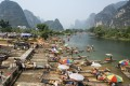 Bamboo tourist rafts in Yangshuo, in southwest China's Guangxi autonomous region. Pictures: Alamy