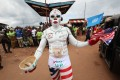 A supporter of Liberian presidential candidate Joseph Boakai at a campaign rally in the port city of Buchanan City last month. Photo: EPA