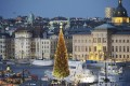 View of a 36-metre tall Christmas tree in Skeppsbron, central Stockholm. All big Swedish cities showed a decline in home prices in September, though it was most pronounced for Stockholm, which fell 2.2 per cent. Photo: Reuters