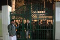 People wait outside a Shiite mosque named Imam-e-Zaman after an attack in Dasht-e-Barchi locality in Kabul, capital of Afghanistan, on October 20, 2017. Photo: Xinhua