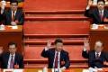 (L to R) Hu Jintao, Xi Jinping and Jiang Zemin at the closing session of the 19th National Congress. Photo: REUTERS