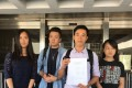Civil Human Rights Front members Daisy Chan Sin-ying, Carlos Hung, Johnson Yeung Ching-yin and Chan Siu-ping (from left to right) collected the judgment at the High Court on Friday. Photo: Jasmine Siu
