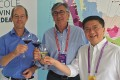 (Left to right) Bordeaux Wine Council president Allan Sichel, Bordeaux deputy mayor Stephan Delaux, and Hong Kong Tourism Board executive director Anthony Lau Chun-hon at this year's Hong Kong Wine and Dine Festival in Central. Photo: Raymond Yeung