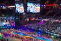 Competitors file into the Quicken Loans Arena in Cleveland, Ohio for the opening ceremony of the Gay Games 2014. Photo: Alamy