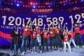 Alibaba staff celebrate reaching 120.7 billion yuan in sales at last year's Singles' Day event. Photo: Kyodo