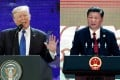 Combo picture of Donald Trump and Xi Jinping at APEC. (Left) U.S. President Donald Trump speaks during the Asia-Pacific Economic Cooperation (APEC) CEO Summit in Da Nang, Vietnam, on Friday, Nov. 10, 2017. Photo: EPA