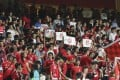 Hundreds of Hong Kong fans booed during March of the Volunteers at Hong Kong Stadium in So Kon Po on Tuesday. Photo: K.Y. Cheng