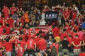 Young Hong Kong soccer fans turn their backs on the pitch, with some holding up an independence banner, as the national anthem plays before a 2019 Asian Cup qualification match with Malaysia, on October 10. Photo: Dickson Lee