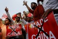Indian demonstrators demand the boycott of Chinese products in New Delhi. Photo: Reuters