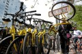 A staff member from Ofo gathers its shared bikes for use during the evening rush hour in Beijing. Ofo and competitor Mobike account for 95 per cent of the bike sharing market, leaving little room for others. Photo: Reuters