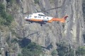 "A helicopter from the Hong Kong Government Flying Service rescued the female hiker, who fell down a steep slope dubbed ""suicide cliff"" in Ma On Shan Country Park. Photo: Facebook"