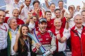 Germany's Daniel Abt (centre) celebrates his HKT Hong Kong E-Prix win with his ABT Schaeffler Audi Sport team, before he was disqualified. Photo: Edward Wong