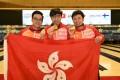 Hong Kong's winning trio of Eric Tseng Tak-hin, Wu Siu-hong and Michael Mak Cheuk-yin. Photos: Hong Kong Tenpin Bowling Congress