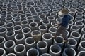 Newly made pipes at a cement plant in China's Jiangxi province. The country's domestic cement production growth rates have been largely stagnant since 2014. Photo: Reuters