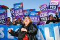 Supporters of same-sex marriage celebrate in front of Parliament House in Canberra. Photo: AFP
