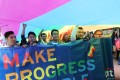 Marchers in Hong Kong's annual Pride Parade make their point, in Causeway Bay on November 25. Photo: Edward Wong