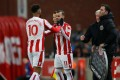Stoke City's Jese (C) was disciplined by the club after leaving the ground before the end of their recent win over Swansea. Photo: Reuters.