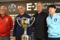 The managers of the teams competing in the upcoming EAFF Championship pose together with the trophy: Marcello Lippi of China (L), Vahid Halihodzic of Japan (2L), Jorn Andersen of North Korea (3L), and Shin Taeyong of South Korea (R). Photo: AFP