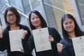 (L-R): Anita Yu, Li Kim-fan, Hau Hoi-yan were among the first batch of graduates from CUHK's Certificate Programme in Sign Language Teaching. K.Y. Cheng