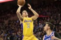 Lakers guard Lonzo Ball shoots past the Philadelphia 76ers' T.J. McConnell. Photo: USA TODAY Sports