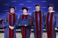 Peng Liyuan (2nd left), folk singing soprano and wife of Chinese President Xi Jinping, receives her honorary doctorate from New York's Juilliard School at a ceremony in Beijing on December 6. Photo: China Conservatory of Music