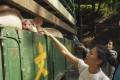 Members of Hong Kong Pig Save, a local vegan activist group stage a protest at Tsuen Wan Slaughterhouse. Photo: Lauren James