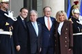 French President Emmanuel Macron with his wife Brigitte Macron and United Nations Secretary General Antonio Guterres and World Bank President Jim Yong Kim. Photo: AFP