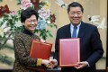 The agreement was signed after a closed-door meeting between Hong Kong Chief Executive Carrie Lam Cheng Yuet-ngor (left) and National Development and Reform Commission chief He Lifeng. Photo: Dickson Lee