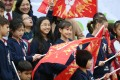 Schoolchildren with Hong Kong Island United flags at the 2017 Blitz. Photo: K.Y. Cheng