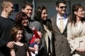 Former US vice-presidential candidate and Alaska governor Sarah Palin (right) stands with members of her family including son Track (left), and Palin's husband Todd (second right). Photo: Reuters