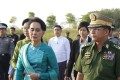 Myanmar's de factor leader Aung San Suu Kyi and senior general Min Aung Hlaing. Photo: EPA