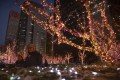 Christmas lights on display in central Beijing. Many retailers see the festival as a chance to boost sales. Photo: AP
