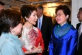 Carrie Lam wore a dress designed by a local designer during her trip to London this year. Photo: ISD